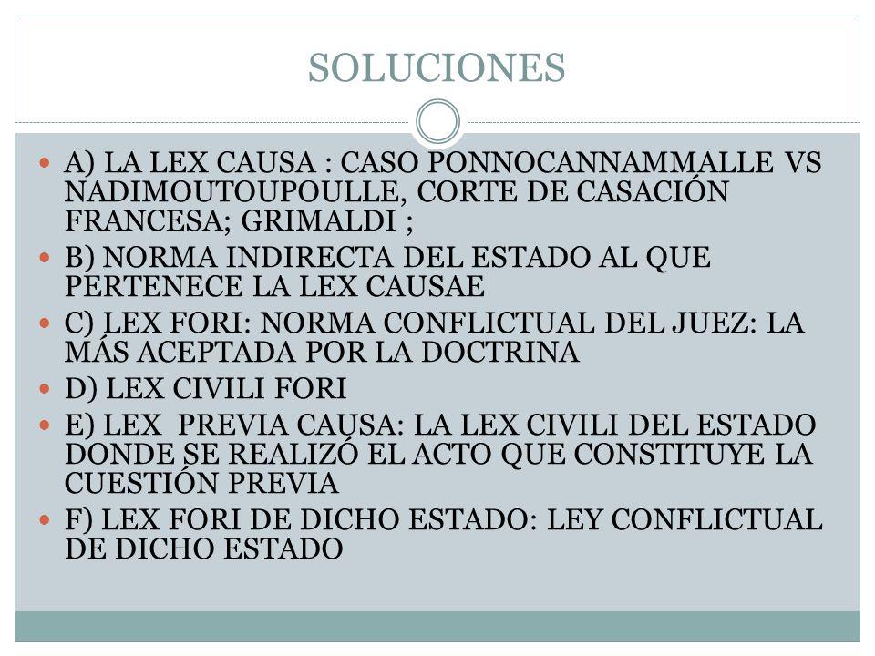 SOLUCIONES A) LA LEX CAUSA : CASO PONNOCANNAMMALLE VS NADIMOUTOUPOULLE, CORTE DE CASACIÓN FRANCESA; GRIMALDI ; B) NORMA INDIRECTA DEL ESTADO AL QUE PE
