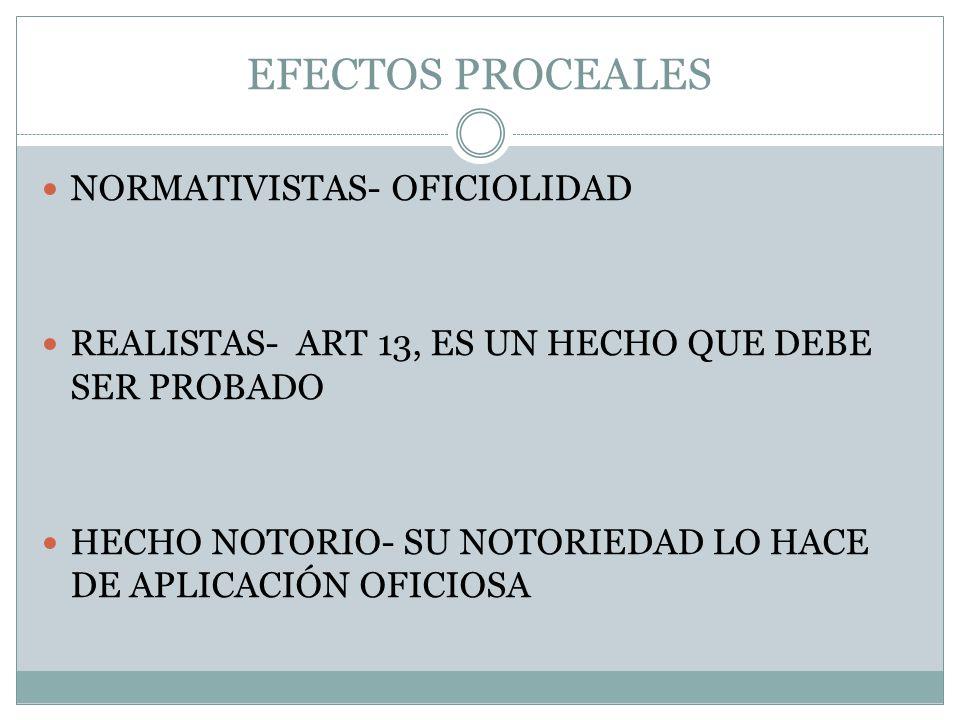 EFECTOS PROCEALES NORMATIVISTAS- OFICIOLIDAD REALISTAS- ART 13, ES UN HECHO QUE DEBE SER PROBADO HECHO NOTORIO- SU NOTORIEDAD LO HACE DE APLICACIÓN OF