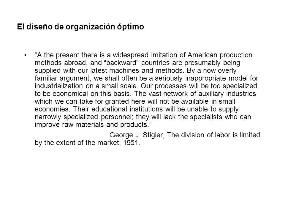 El diseño de organización óptimo A the present there is a widespread imitation of American production methods abroad, and backward countries are presu