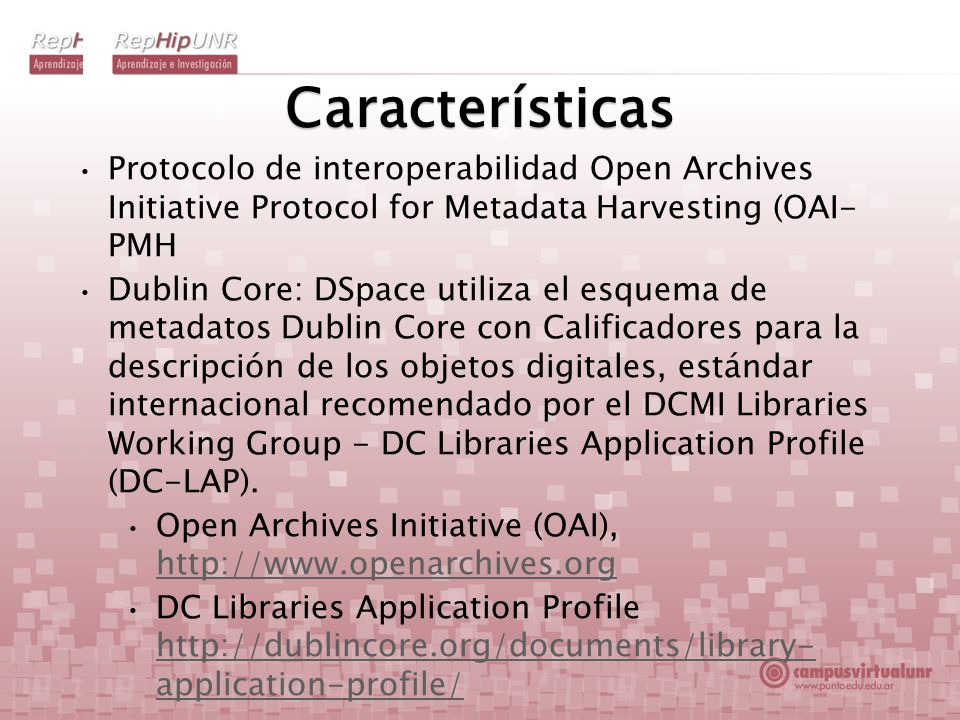 Características Protocolo de interoperabilidad Open Archives Initiative Protocol for Metadata Harvesting (OAI- PMH Dublin Core: DSpace utiliza el esquema de metadatos Dublin Core con Calificadores para la descripción de los objetos digitales, estándar internacional recomendado por el DCMI Libraries Working Group - DC Libraries Application Profile (DC-LAP).