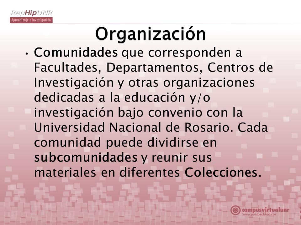 Organización Comunidades que corresponden a Facultades, Departamentos, Centros de Investigación y otras organizaciones dedicadas a la educación y/o in