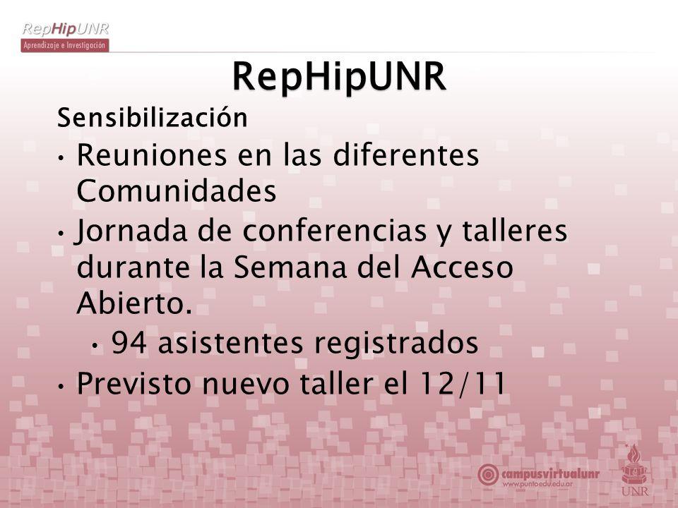 RepHipUNR Sensibilización Reuniones en las diferentes Comunidades Jornada de conferencias y talleres durante la Semana del Acceso Abierto. 94 asistent