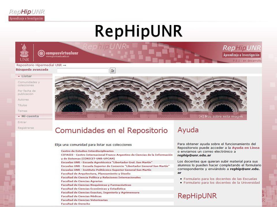 Repositorio Hipermedial UNR RepHipUNR es un repositorio académico abierto creado para archivar, preservar y distribuir digitalmente en variados formatos tanto materiales de enseñanza y aprendizaje como la producción científica de Investigación y Desarrollo (I+D) de los profesores, investigadores y profesionales de la UNR.