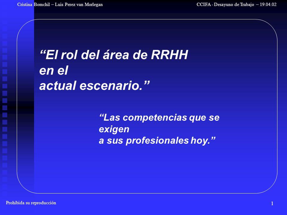 1 Cristina Bomchil – Luis Perez van Morlegan Prohibida su reproducción CCIFA - Desayuno de Trabajo – 19.04.02 El rol del área de RRHH en el actual escenario.