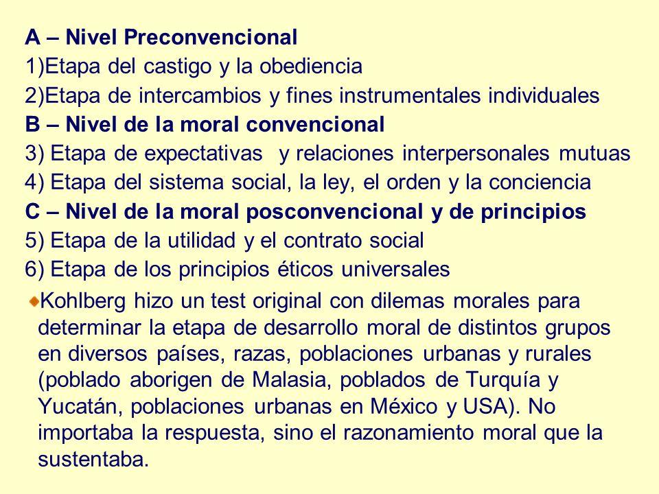 A – Nivel Preconvencional 1)Etapa del castigo y la obediencia 2)Etapa de intercambios y fines instrumentales individuales B – Nivel de la moral conven