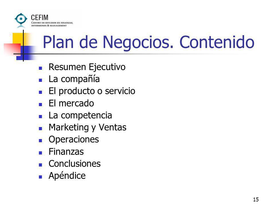 15 Plan de Negocios. Contenido Resumen Ejecutivo La compañía El producto o servicio El mercado La competencia Marketing y Ventas Operaciones Finanzas