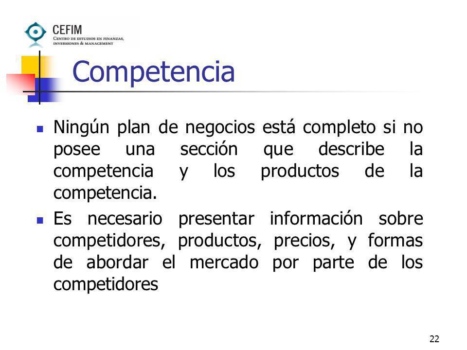 22 Competencia Ningún plan de negocios está completo si no posee una sección que describe la competencia y los productos de la competencia. Es necesar
