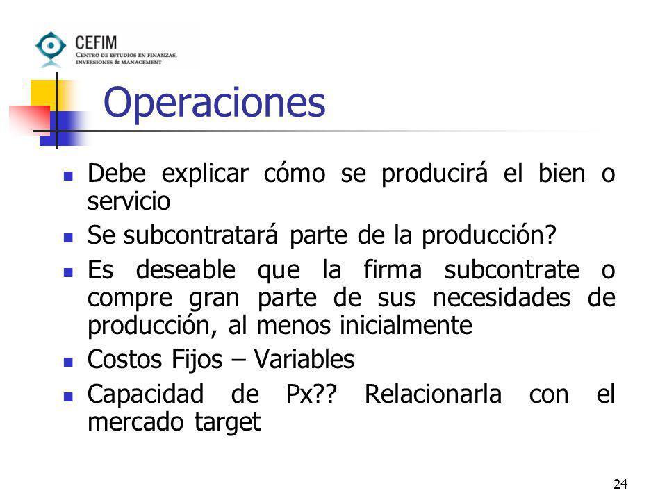 24 Operaciones Debe explicar cómo se producirá el bien o servicio Se subcontratará parte de la producción? Es deseable que la firma subcontrate o comp