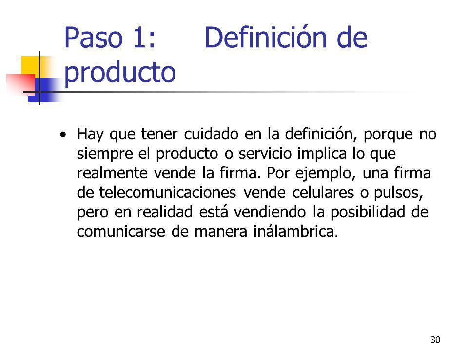 30 Paso 1: Definición de producto Hay que tener cuidado en la definición, porque no siempre el producto o servicio implica lo que realmente vende la f