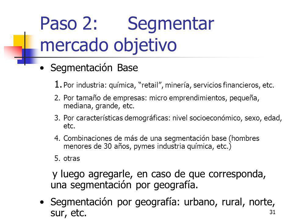 31 Paso 2: Segmentar mercado objetivo Segmentación Base 1. Por industria: química, retail, minería, servicios financieros, etc. 2.Por tamaño de empres