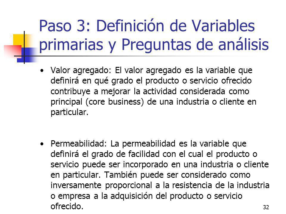 32 Paso 3: Definición de Variables primarias y Preguntas de análisis Valor agregado: El valor agregado es la variable que definirá en qué grado el pro