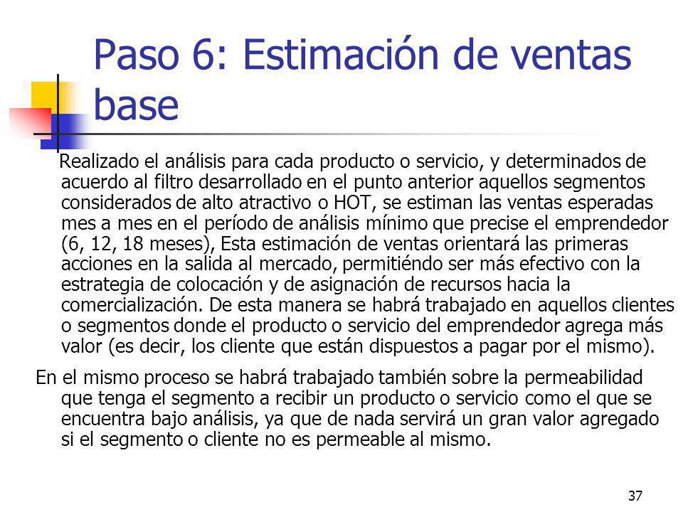37 Paso 6: Estimación de ventas base Realizado el análisis para cada producto o servicio, y determinados de acuerdo al filtro desarrollado en el punto