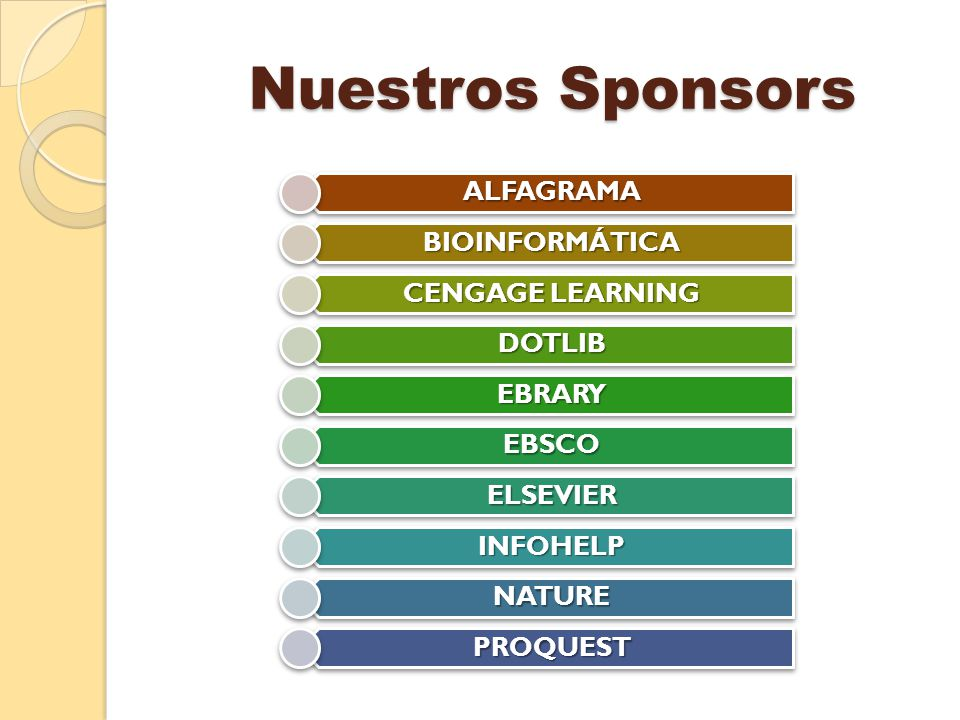 Nuestros Sponsors Nuestros SponsorsALFAGRAMA BIOINFORMÁTICA CENGAGE LEARNING DOTLIB EBRARY EBSCO ELSEVIER INFOHELP NATURE PROQUEST