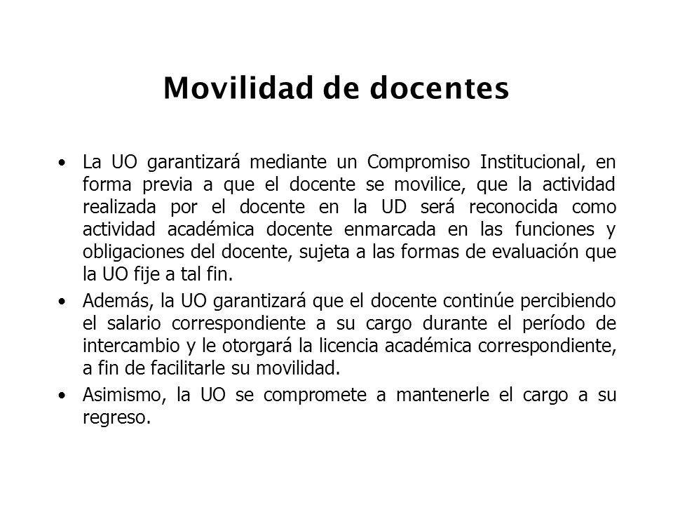 Movilidad de docentes La UO garantizará mediante un Compromiso Institucional, en forma previa a que el docente se movilice, que la actividad realizada