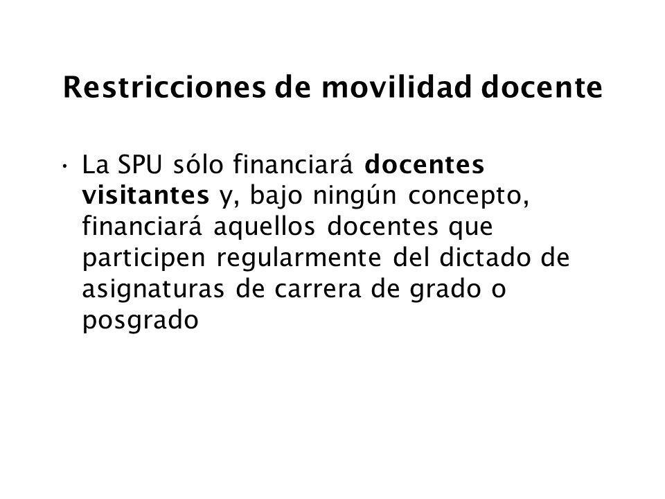 Restricciones de movilidad docente La SPU sólo financiará docentes visitantes y, bajo ningún concepto, financiará aquellos docentes que participen reg