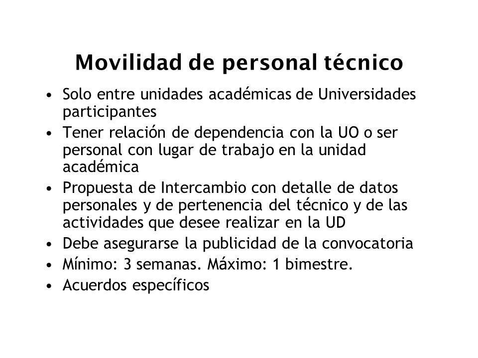 Movilidad de personal técnico Solo entre unidades acad é micas de Universidades participantes Tener relaci ó n de dependencia con la UO o ser personal