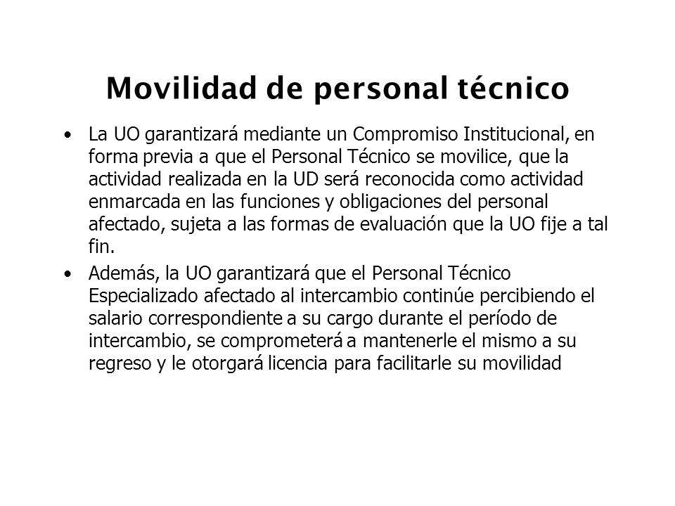Movilidad de personal técnico La UO garantizará mediante un Compromiso Institucional, en forma previa a que el Personal Técnico se movilice, que la ac