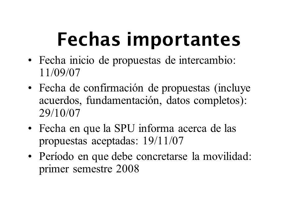 Fechas importantes Fecha inicio de propuestas de intercambio: 11/09/07 Fecha de confirmación de propuestas (incluye acuerdos, fundamentación, datos co