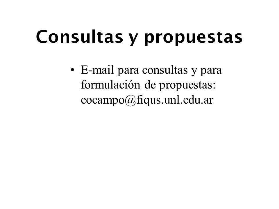 Consultas y propuestas E-mail para consultas y para formulación de propuestas: eocampo@fiqus.unl.edu.ar