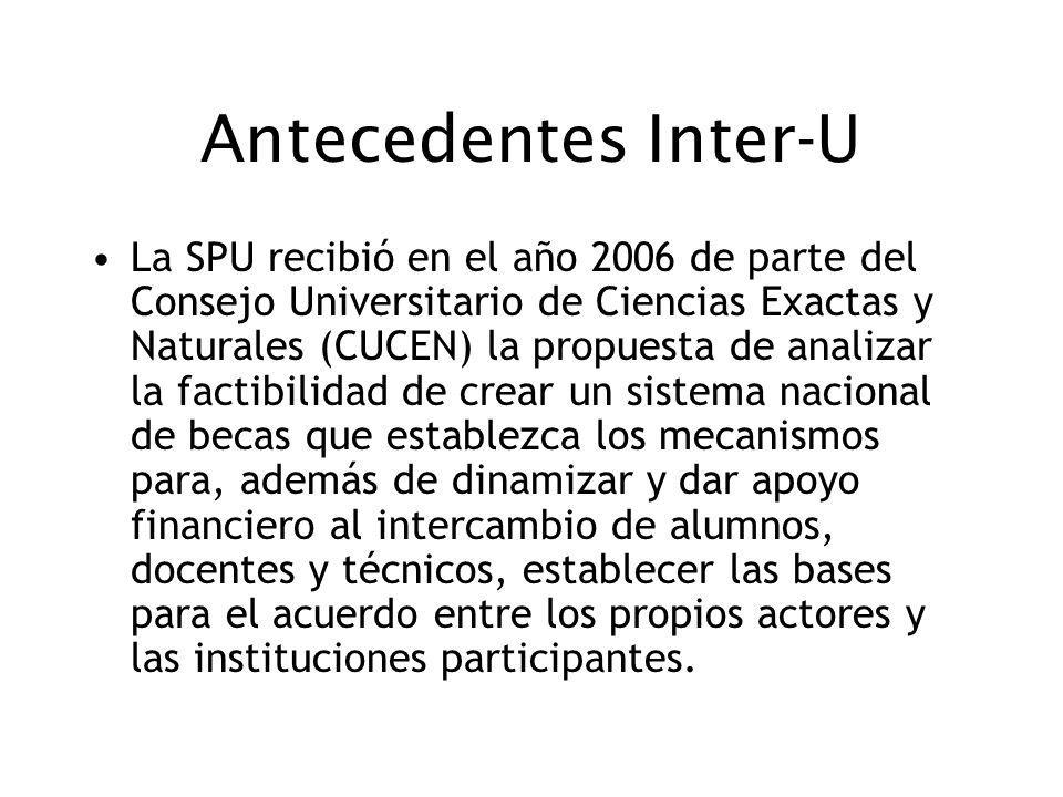 Antecedentes Inter-U La SPU recibió en el año 2006 de parte del Consejo Universitario de Ciencias Exactas y Naturales (CUCEN) la propuesta de analizar