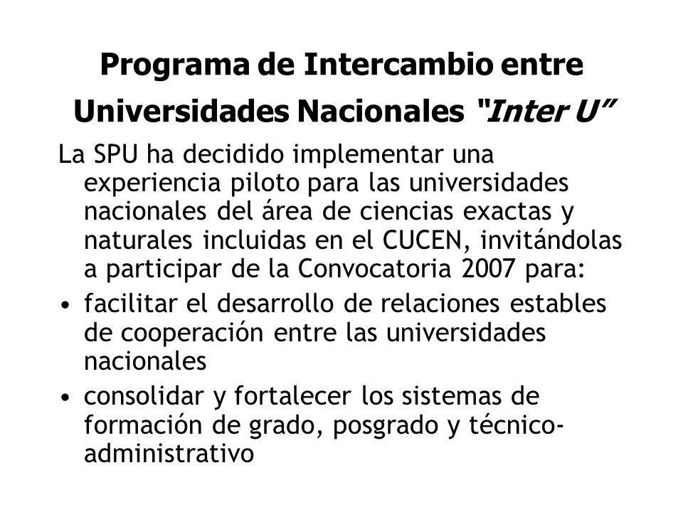 Programa de Intercambio entre Universidades Nacionales Inter U La SPU ha decidido implementar una experiencia piloto para las universidades nacionales