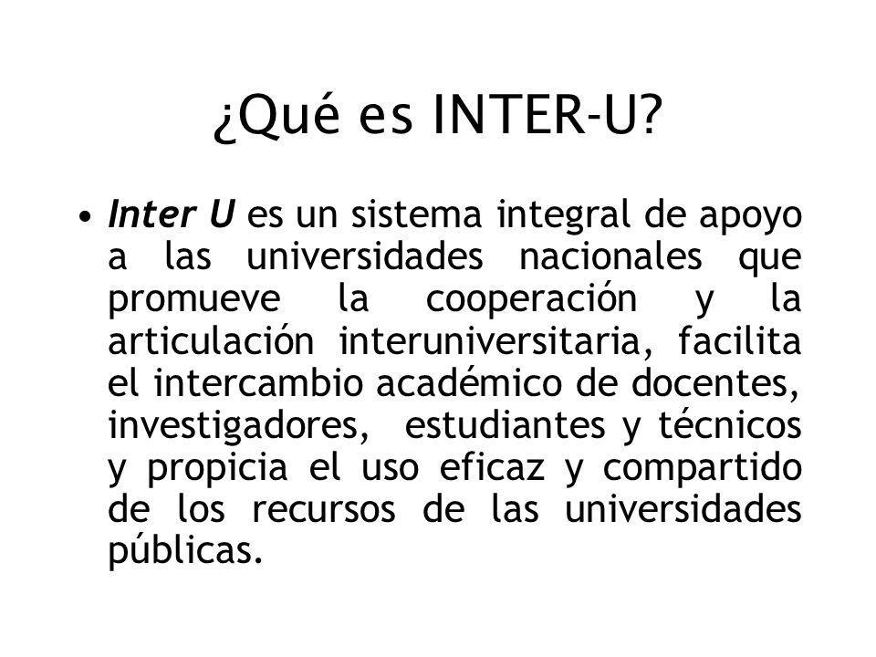 ¿Qué es INTER-U? Inter U es un sistema integral de apoyo a las universidades nacionales que promueve la cooperación y la articulación interuniversitar