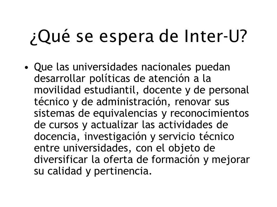 ¿Qué se espera de Inter-U? Que las universidades nacionales puedan desarrollar políticas de atención a la movilidad estudiantil, docente y de personal