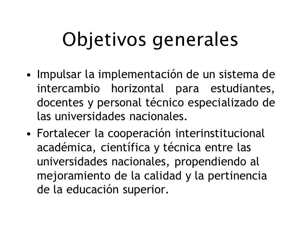 Objetivos generales Impulsar la implementación de un sistema de intercambio horizontal para estudiantes, docentes y personal técnico especializado de