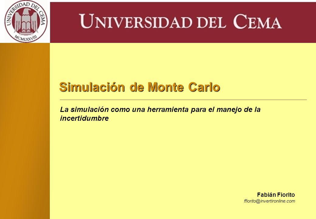 - 21 - Universidad del CEMA Un ejemplo de Aplicación (cont.) Luego de 10 corridas… –Resumen de corridas: { 0,0010, 0,0016, 0,00087, 0,0020, 0,0011, 0,0018, 0,0024, 0,0016, 0,0015, 0,00062 } –Media = 0,00145 –Desviación estándar = 0,00055