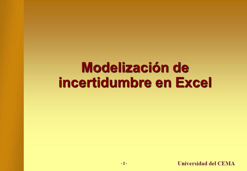 - 22 - Universidad del CEMA Un ejemplo de Aplicación (cont.) Resultados obtenidos luego de 100 corridas…