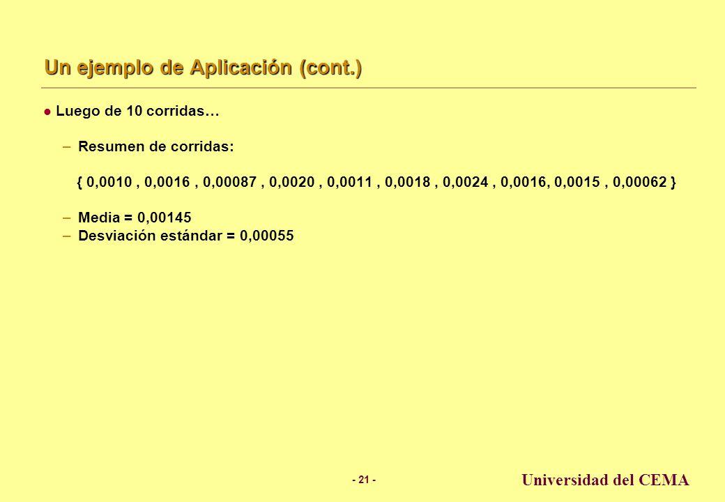 - 20 - Universidad del CEMA Un ejemplo de Aplicación (cont.) Cuarta corrida… p(irritación) = 0,0238 mg × 0,085/mg = 0,0020 Resumen de corridas { 0,0010, 0,0016, 0,00087, 0,0020 } 0.020.030.01 Exposure (mg) Potency (probability of irritation per mg) 0.050.10 0,0238 0,085