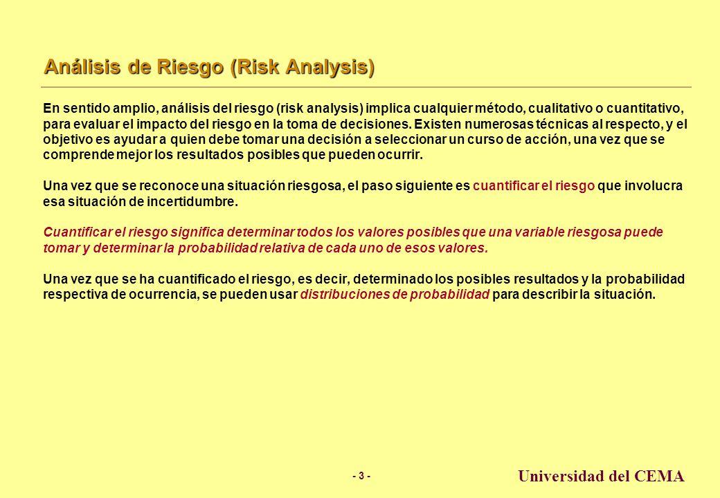 - 3 - Universidad del CEMA Análisis de Riesgo (Risk Analysis) En sentido amplio, análisis del riesgo (risk analysis) implica cualquier método, cualitativo o cuantitativo, para evaluar el impacto del riesgo en la toma de decisiones.