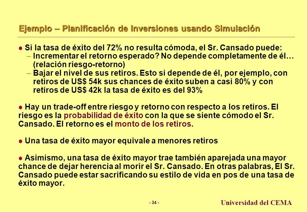 - 33 - Universidad del CEMA Ejemplo – Planificación de Inversiones usando Simulación Asumiendo 10% de retorno con una normal y desviación estándar del 17%, hay casi un 72% de probabilidad de que los fondos del Sr.