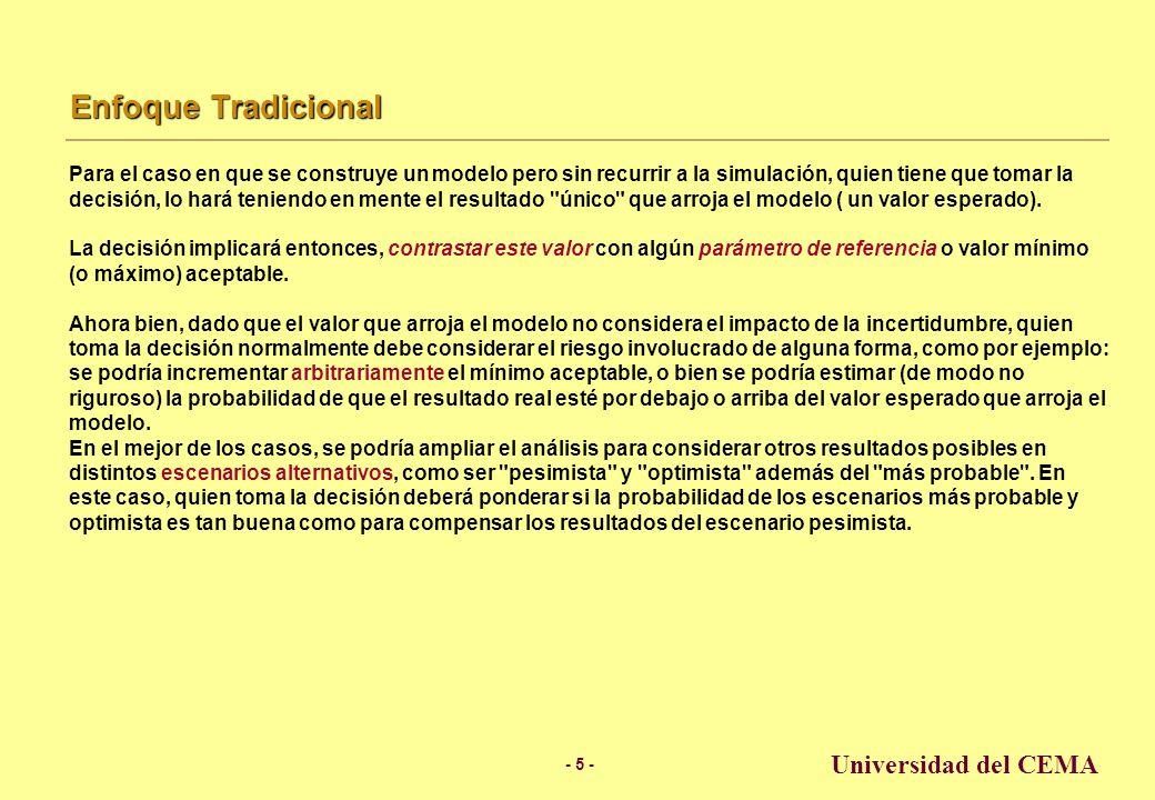 - 4 - Universidad del CEMA Modelos de Simulación Un modelo es inservible si no ayuda al usuario a comprender el problema.