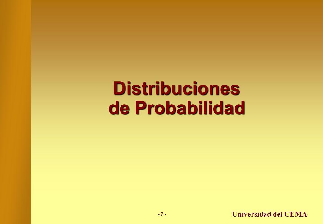 - 6 - Universidad del CEMA Enfoque de Simulación En el caso de introducir en el modelo un análisis de simulación, los resultados que arroja el modelo en términos de distribuciones de probabilidad, le brindan a quien debe tomar una decisión un panorama de todos los resultados posibles con sus respectivas probabilidades.