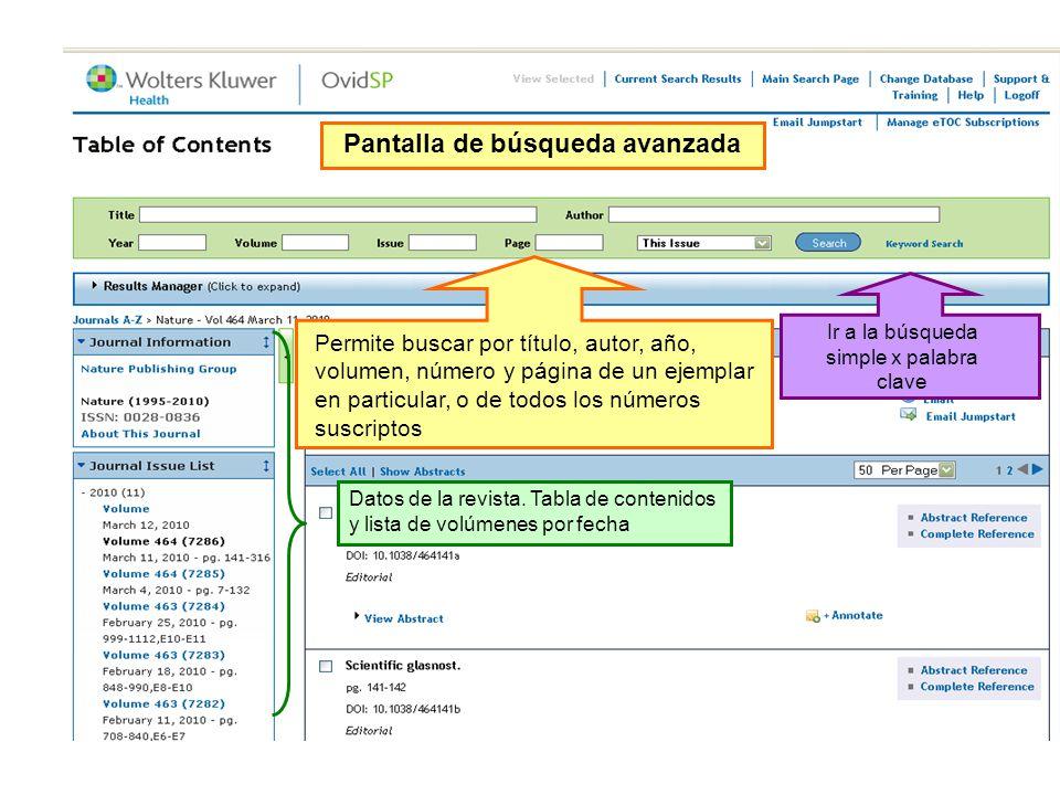 Pantalla de búsqueda avanzada Permite buscar por título, autor, año, volumen, número y página de un ejemplar en particular, o de todos los números suscriptos Datos de la revista.