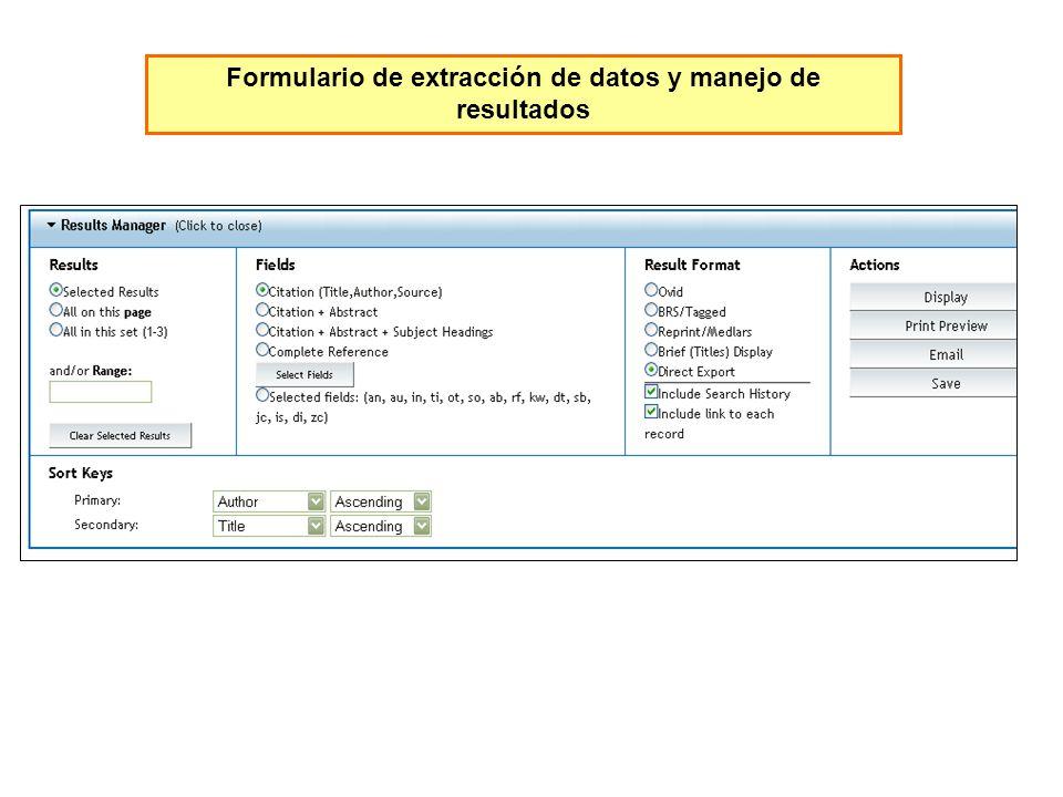 Formulario de extracción de datos y manejo de resultados