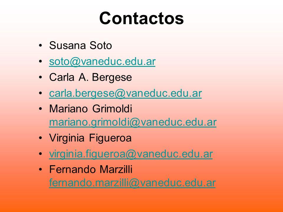 Contactos Susana Soto soto@vaneduc.edu.ar Carla A.