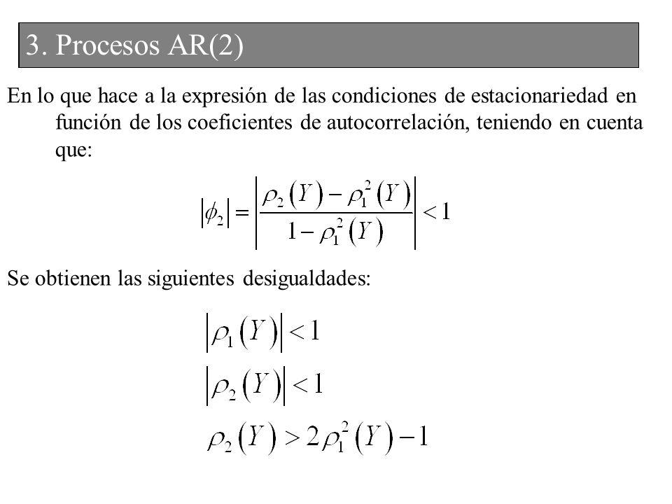 En lo que hace a la expresión de las condiciones de estacionariedad en función de los coeficientes de autocorrelación, teniendo en cuenta que: Se obti