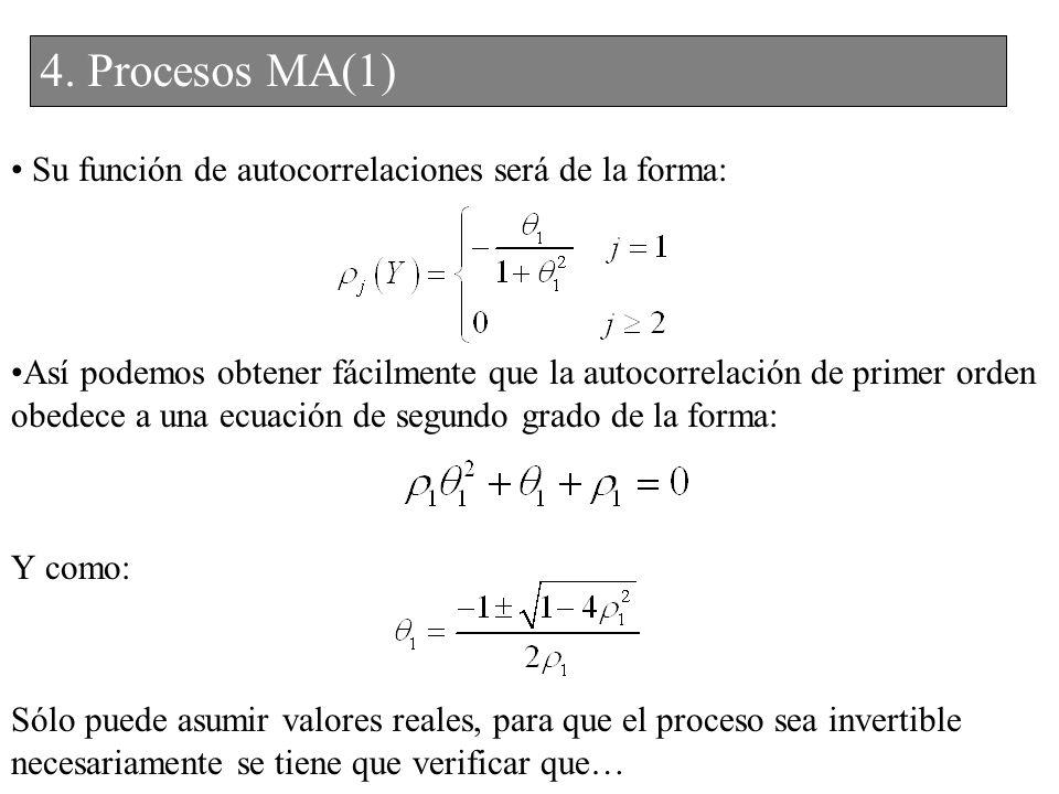 Su función de autocorrelaciones será de la forma: Así podemos obtener fácilmente que la autocorrelación de primer orden obedece a una ecuación de segu