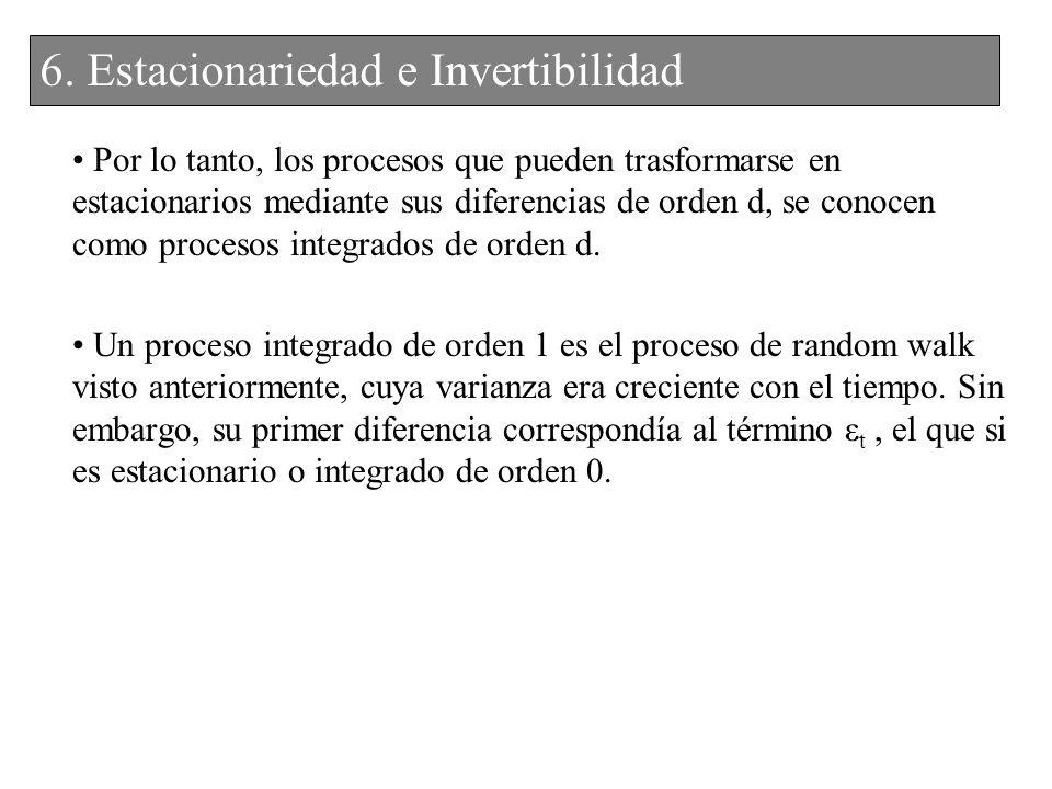 Por lo tanto, los procesos que pueden trasformarse en estacionarios mediante sus diferencias de orden d, se conocen como procesos integrados de orden