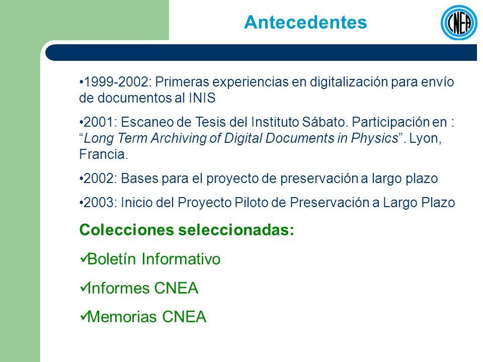 Flujo de trabajo Catálogo CNEA Impresión Visualización ConsultaSelección Control de calidad Captura (Salida de TIFF) Conversión a PDF/A PDF JB2 y OCR Normalización (XENA) Descripción (Incorporación de Metadatos) Almacenamiento (Back-Up) Procesamiento con software de BibDig (incorporación automática de metadatos) Provisión de acceso INIS NLNZ Metadata Extractor BD Hist.