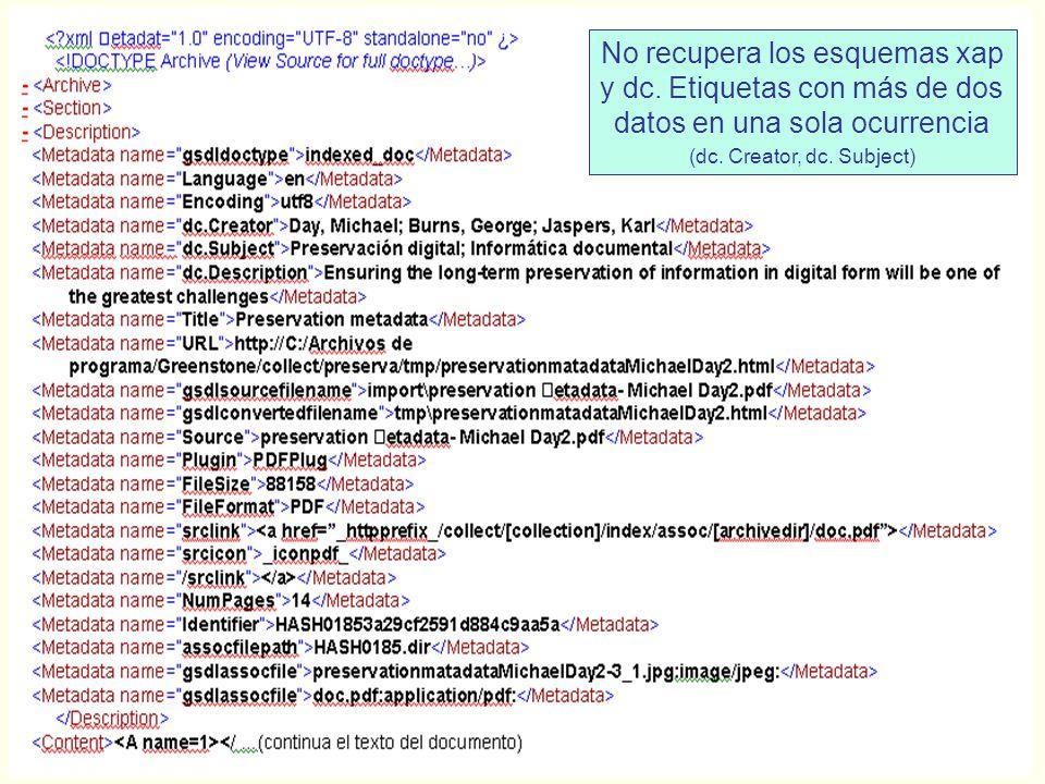 No recupera los esquemas xap y dc.Etiquetas con más de dos datos en una sola ocurrencia (dc.