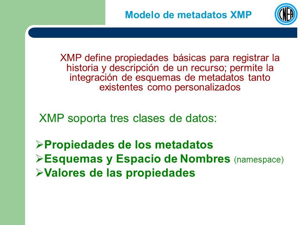 Modelo de metadatos XMP XMP define propiedades básicas para registrar la historia y descripción de un recurso; permite la integración de esquemas de metadatos tanto existentes como personalizados XMP soporta tres clases de datos: Propiedades de los metadatos Esquemas y Espacio de Nombres (namespace) Valores de las propiedades
