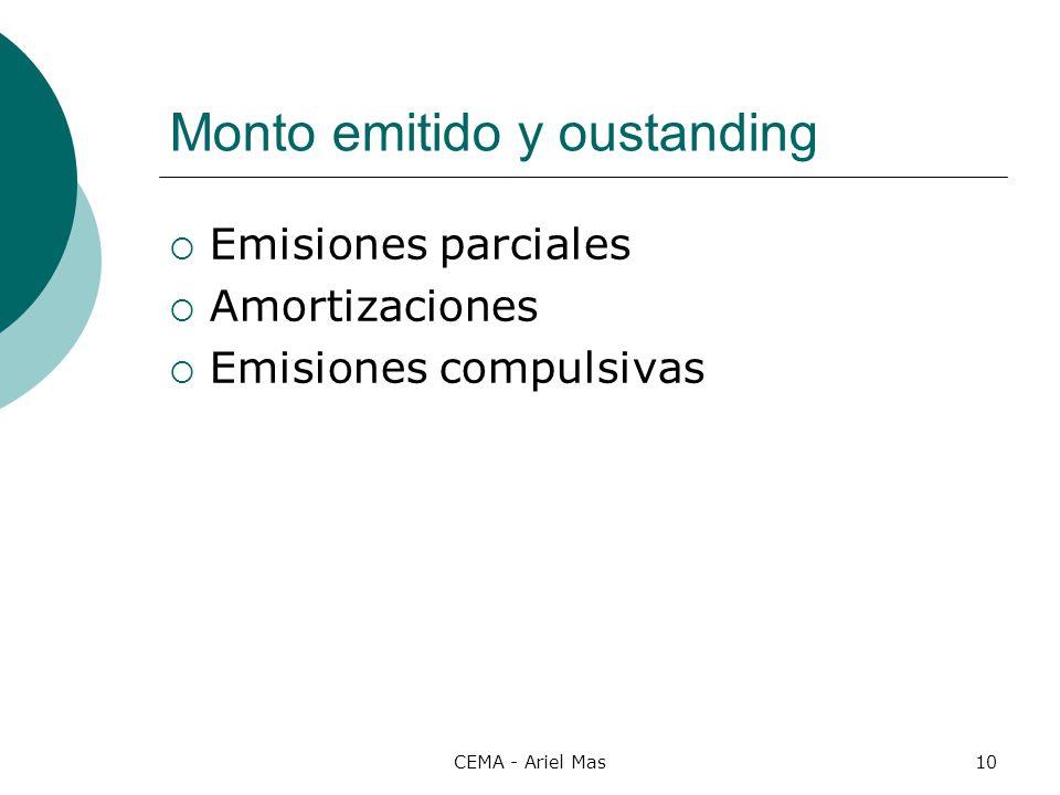 CEMA - Ariel Mas10 Monto emitido y oustanding Emisiones parciales Amortizaciones Emisiones compulsivas