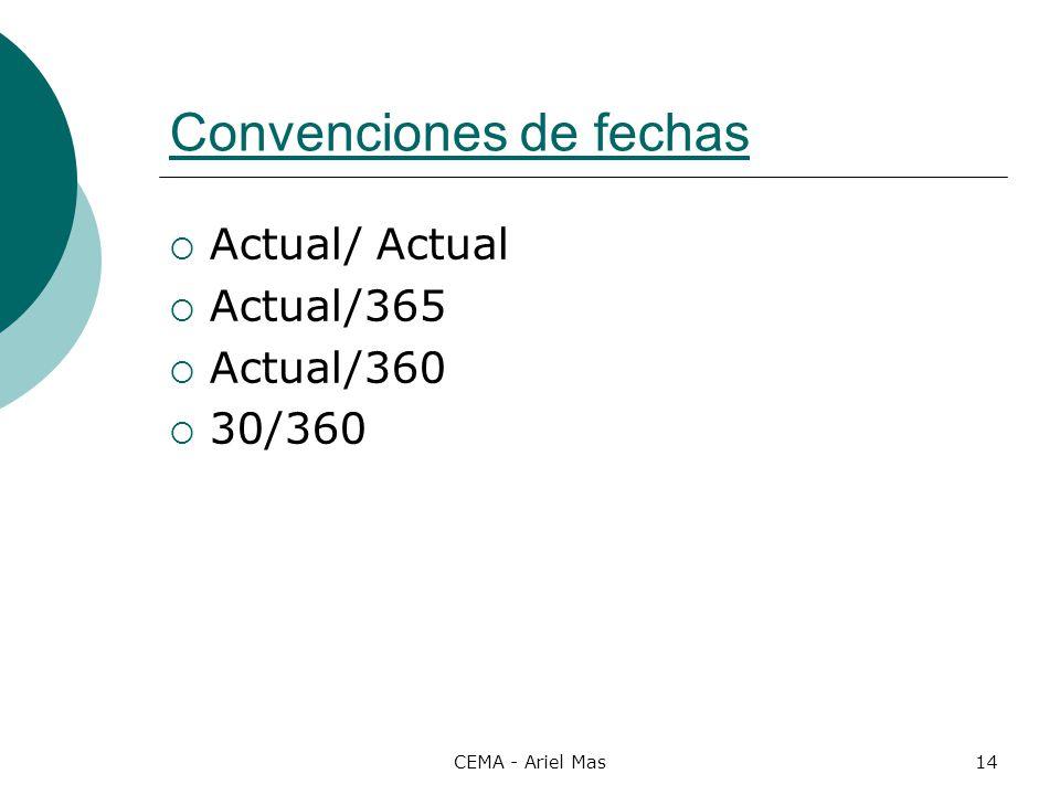 CEMA - Ariel Mas14 Convenciones de fechas Actual/ Actual Actual/365 Actual/360 30/360