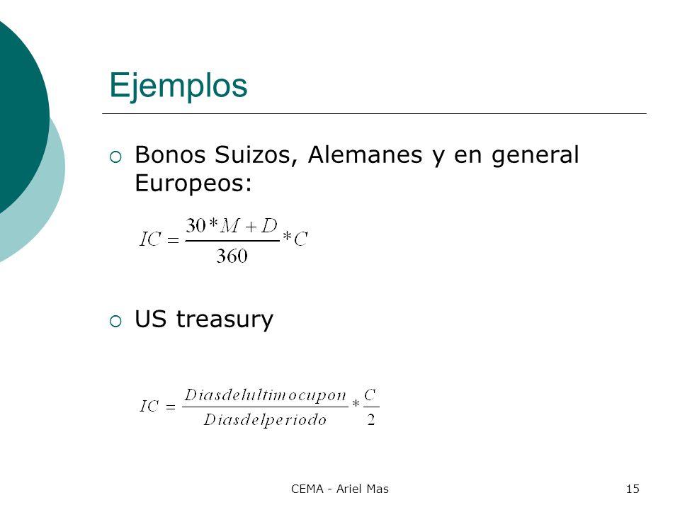 CEMA - Ariel Mas15 Ejemplos Bonos Suizos, Alemanes y en general Europeos: US treasury