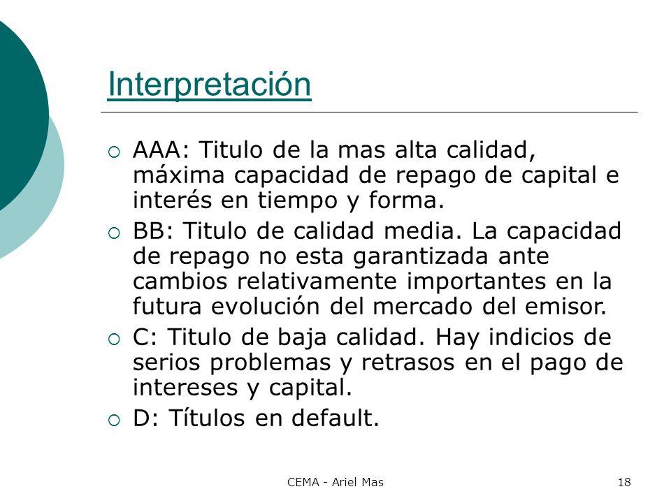CEMA - Ariel Mas18 Interpretación AAA: Titulo de la mas alta calidad, máxima capacidad de repago de capital e interés en tiempo y forma. BB: Titulo de