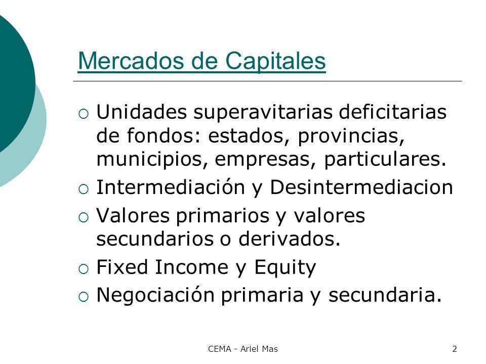 CEMA - Ariel Mas3 Definición Un bono es un instrumento de deuda emitido por un tomador de credito, que lo obliga a pagarle al tenedor del bono ( comprador o inversor) el capital original mas sus intereses durante un periodo especifico de tiempo.