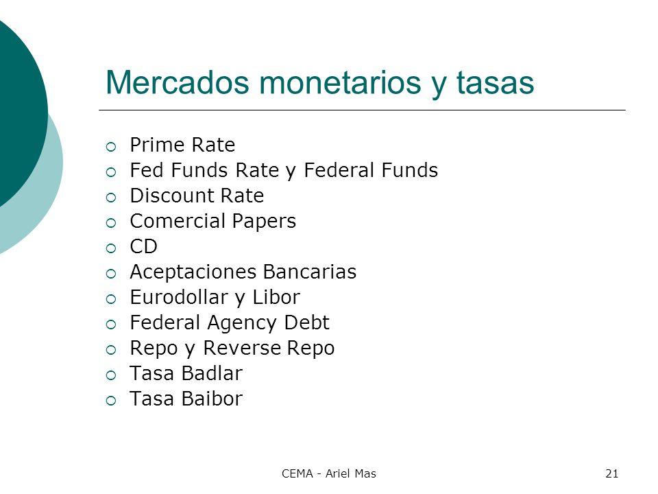 CEMA - Ariel Mas21 Mercados monetarios y tasas Prime Rate Fed Funds Rate y Federal Funds Discount Rate Comercial Papers CD Aceptaciones Bancarias Euro